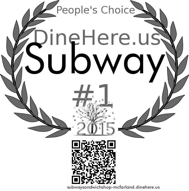 Subway DineHere.us 2015 Award Winner